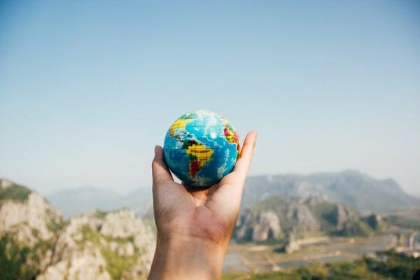 ball shaped globe blurred background