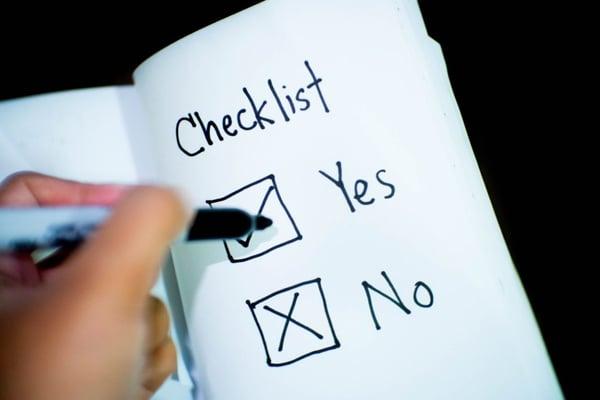checklist on notebook
