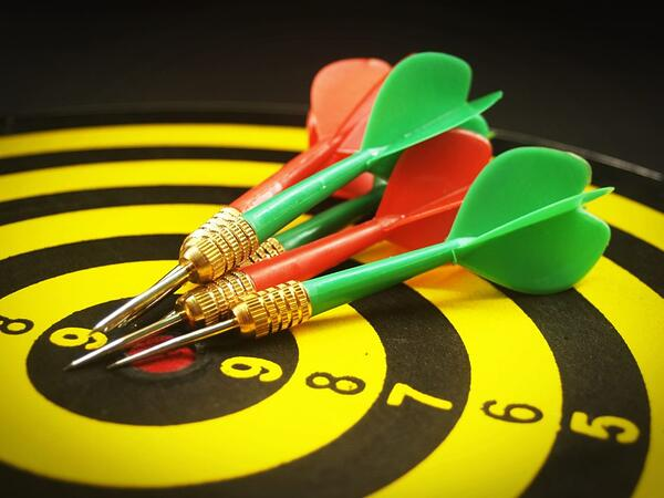 closeup of bullseye target