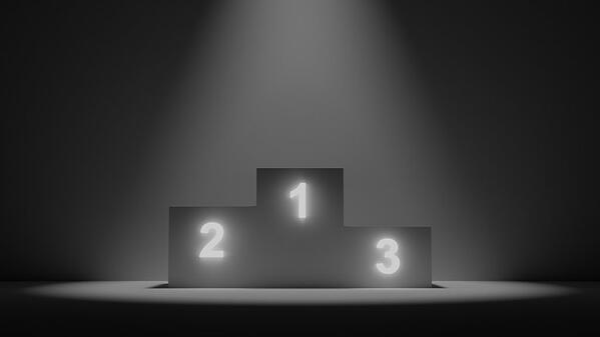 pedestal, ranking, podium, winner, dark, 3d, top-light, bw, black and white