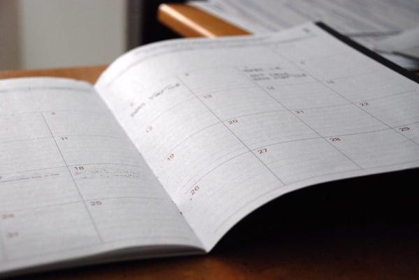 white printer paper calendar