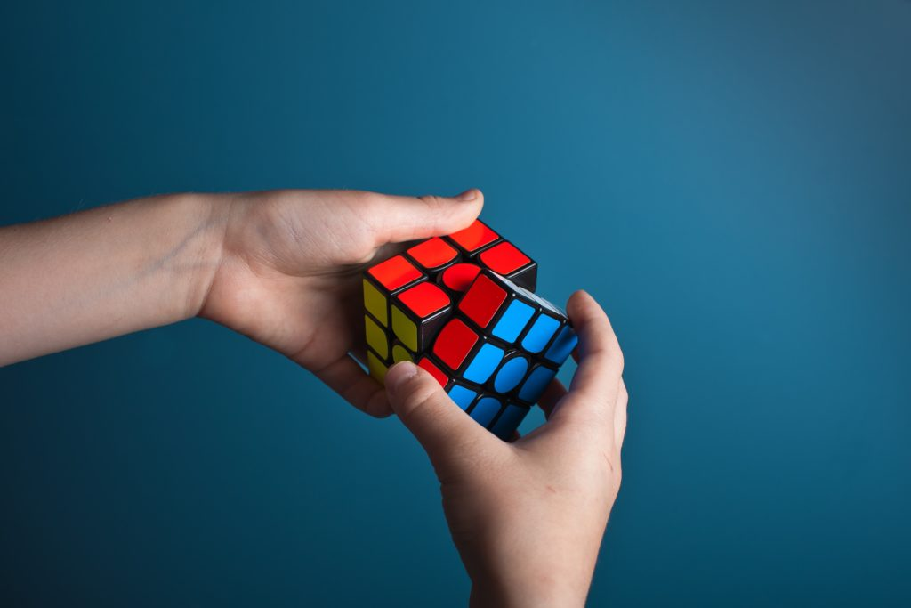 rubik cube in hands